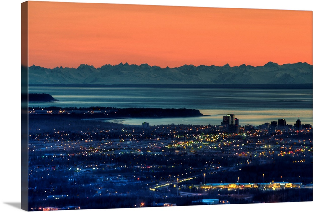 Large Solid-Faced Canvas Print Wall Art Print 30 x 20 entitled The city of Anchorage Alaska at sunset with Cook Inlet in t... Solid-Faced Canvas Print entitled The city of Anchorage Alaska at sunset with Cook Inlet in the background.  Multiple sizes available.  Primary colors within this image include Pink, Gray, Dark Navy Blue.  Made in the USA.  Satisfaction guaranteed.  Inks used are latex-based and designed to last.  Canvas is handcrafted and made-to-order in the United States using high quality artist-grade canvas.  Archival inks prevent fading and preserve as much fine detail as possible with no over-saturation or color shifting.