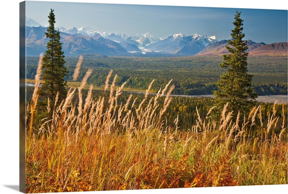Large Solid-Faced Canvas Print Wall Art Print 30 x 20 entitled View of Alaska Range and Eldridge glacier, Southcentral Ala... Solid-Faced Canvas Print entitled View of Alaska Range and Eldridge glacier, Southcentral Alaska, Autumn.  Multiple sizes available.  Primary colors within this image include Brown, Peach, Black, Gray Blue.  Made in the USA.  All products come with a 365 day workmanship guarantee.  Archival-quality UV-resistant inks.  Canvas depth is 1.25 and includes a finished backing with pre-installed hanging hardware.  Archival inks prevent fading and preserve as much fine detail as possible with no over-saturation or color shifting.