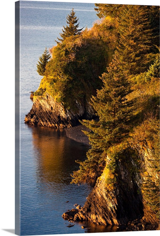Large Solid-Faced Canvas Print Wall Art Print 20 x 30 entitled View of Chiniak Bay, Kodiak Island, Southwest Alaska, Fall Solid-Faced Canvas Print entitled View of Chiniak Bay, Kodiak Island, Southwest Alaska, Fall.  Multiple sizes available.  Primary colors within this image include Brown, Peach, Black, Light Gray Blue.  Made in the USA.  Satisfaction guaranteed.  Archival-quality UV-resistant inks.  Featuring a proprietary design, our canvases produce the tightest corners without any bubbles, ripples, or bumps and will not warp or sag over time.  Canvas depth is 1.25 and includes a finished backing with pre-installed hanging hardware.