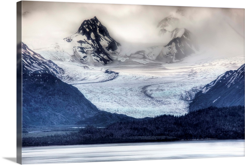 Large Solid-Faced Canvas Print Wall Art Print 30 x 20 entitled View of Grewingk Glacier flowing into Kachemak Bay, near Ho... Solid-Faced Canvas Print entitled View of Grewingk Glacier flowing into Kachemak Bay, near Homer, Kenai Peninsula, Alaska.  Multiple sizes available.  Primary colors within this image include Gray, White, Dark Navy Blue.  Made in USA.  Satisfaction guaranteed.  Inks used are latex-based and designed to last.  Archival inks prevent fading and preserve as much fine detail as possible with no over-saturation or color shifting.  Canvas depth is 1.25 and includes a finished backing with pre-installed hanging hardware.