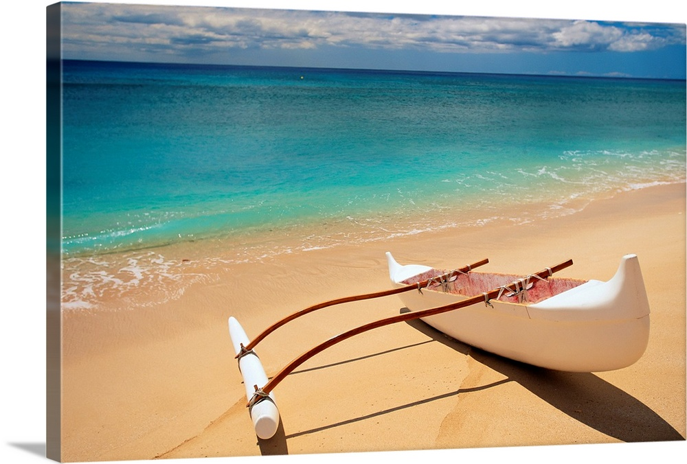 Large Solid-Faced Canvas Print Wall Art Print 30 x 20 entitled White Outrigger Canoe On Shoreline With Shadow, Calm Turquo... Solid-Faced Canvas Print entitled White Outrigger Canoe On Shoreline With Shadow, Calm Turquoise Water.  Horizontal canvas of a canoe sitting on a beach with crystal clear water washing ashore from the ocean.  Multiple sizes available.  Primary colors within this image include Dark Red, Peach, Silver, Gray Blue.  Made in USA.  Satisfaction guaranteed.  Inks used are latex-based and designed to last.  Canvas is handcrafted and made-to-order in the United States using high quality artist-grade canvas.  Canvas depth is 1.25 and includes a finished backing with pre-installed hanging hardware.