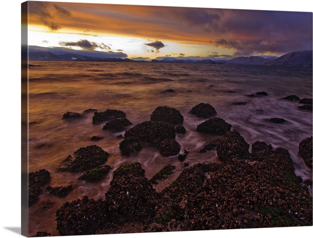 Large Solid-Faced Canvas Print Wall Art Print 40 x 30 entitled Winter sunset view of Zimovia Strait and Woronkofski Island Solid-Faced Canvas Print entitled Winter sunset view of Zimovia Strait and Woronkofski Island.  The view North over Zimovia Strait from Petroglyph Beach at sunset as small waves move over the barnacle clad rocks.  Wrangell Island, winter in Southeast Alaska.  Multiple sizes available.  Primary colors within this image include Peach, Black, Gray, Muted Blue.  Made in USA.  All products come with a 365 day workmanship guarantee.  Archival-quality UV-resistant inks.  Canvas depth is 1.25 and includes a finished backing with pre-installed hanging hardware.  Featuring a proprietary design, our canvases produce the tightest corners without any bubbles, ripples, or bumps and will not warp or sag over time.