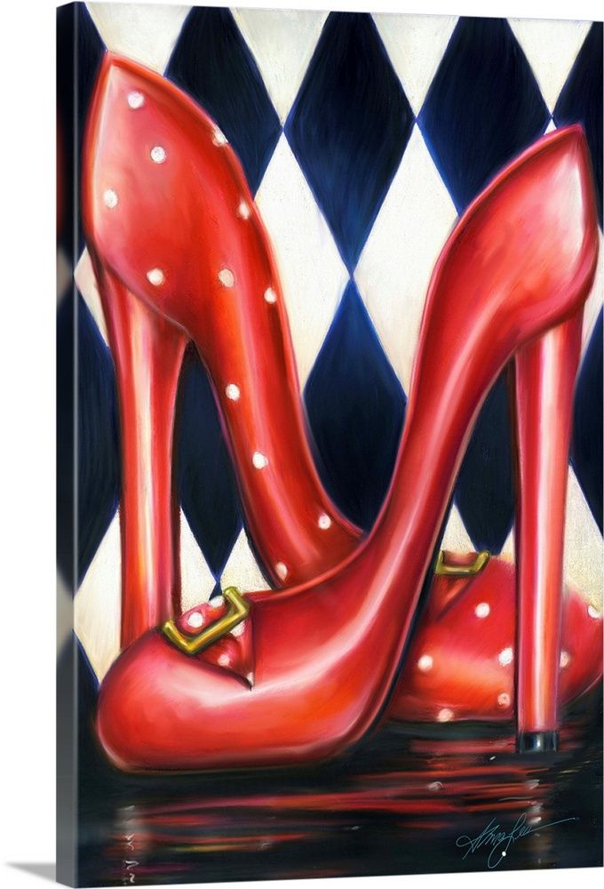 Large Solid-Faced Canvas Print Wall Art Print 20 x 30 entitled Red Shoe Required Solid-Faced Canvas Print entitled Red Shoe Required.  A vertical contemporary painting of a pair of red heels against a diamond checkered background. .  Multiple sizes available.  Primary colors within this image include Pink, Peach, Black, Light Gray Blue.  Made in USA.  All products come with a 365 day workmanship guarantee.  Archival-quality UV-resistant inks.  Featuring a proprietary design, our canvases produce the tightest corners without any bubbles, ripples, or bumps and will not warp or sag over time.  Canvas depth is 1.25 and includes a finished backing with pre-installed hanging hardware.
