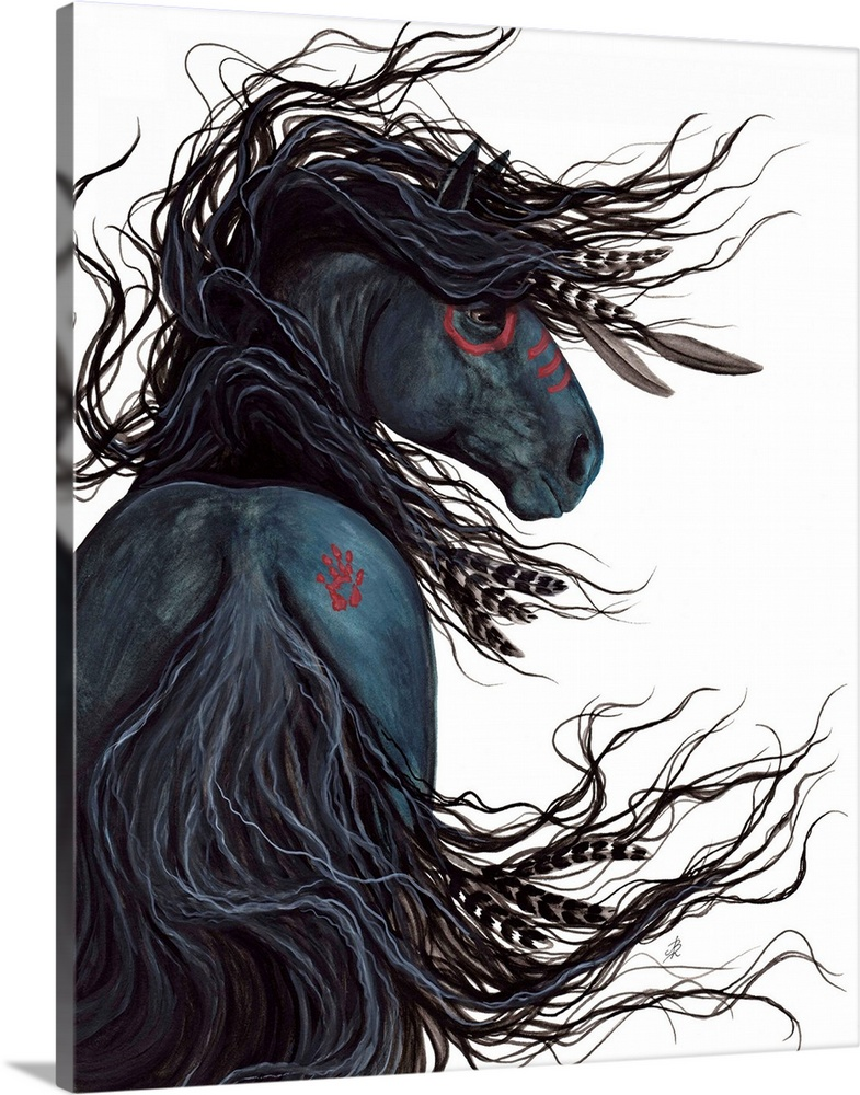 Solid-Faced Canvas Print Wall Art entitled Majestic Friesian Spirit Horse