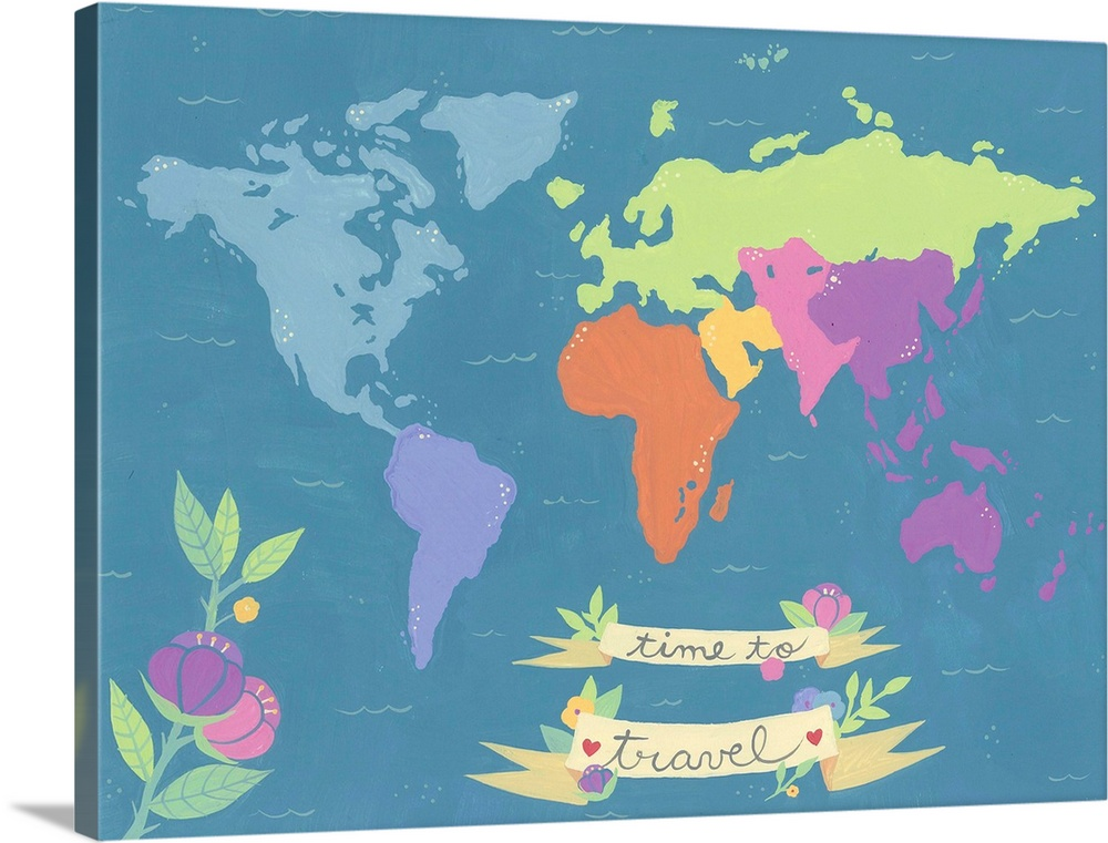 Large Solid-Faced Canvas Print Wall Art Print 40 x 30 entitled Time To Travel Solid-Faced Canvas Print entitled Time To Travel.  Simple map of the world with the continents differentiated by color with a flower and banner.  Multiple sizes available.  Primary colors within this image include Peach, Light Purple, Silver, Gray Blue.  Made in the USA.  All products come with a 365 day workmanship guarantee.  Inks used are latex-based and designed to last.  Featuring a proprietary design, our canvases produce the tightest corners without any bubbles, ripples, or bumps and will not warp or sag over time.  Canvas depth is 1.25 and includes a finished backing with pre-installed hanging hardware.