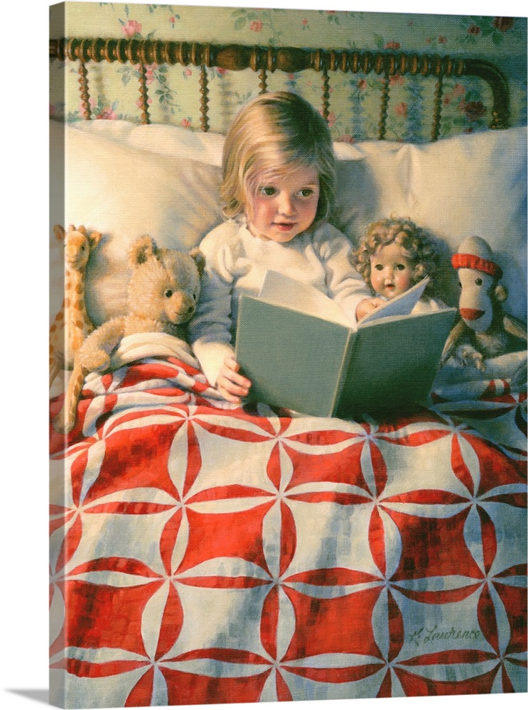 Large Solid-Faced Canvas Print Wall Art Print 30 x 40 entitled Story Time Solid-Faced Canvas Print entitled Story Time.  Multiple sizes available.  Primary colors within this image include Red, Brown, White, Dark Forest Green.  Made in USA.  Satisfaction guaranteed.  Inks used are latex-based and designed to last.  Canvas is handcrafted and made-to-order in the United States using high quality artist-grade canvas.  Canvas depth is 1.25 and includes a finished backing with pre-installed hanging hardware.