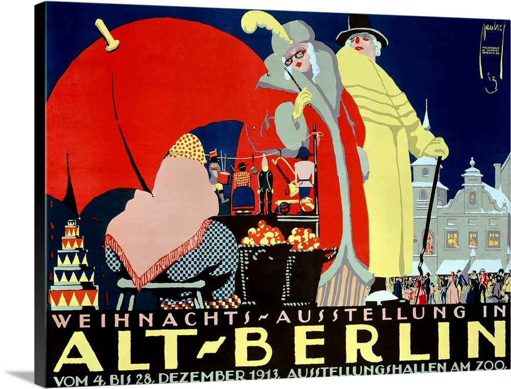 Large Solid-Faced Canvas Print Wall Art Print 40 x 30 entitled Alt Berlin, Vintage Poster, by Ernst Deutsch Solid-Faced Canvas Print entitled Alt Berlin, Vintage Poster, by Ernst Deutsch.  Landscape large vintage advertisement for Alt Berlin, of a man and woman dressed in elegant clothing, browsing upon a merchant on the street selling various items.  A large crowd surrounds a building in the background.  Multiple sizes available.  Primary colors within this image include Red, Dark Blue, Peach, Light Yellow.  Made in the USA.  Satisfaction guaranteed.  Inks used are latex-based and designed to last.  Archival inks prevent fading and preserve as much fine detail as possible with no over-saturation or color shifting.  Canvas depth is 1.25 and includes a finished backing with pre-installed hanging hardware.