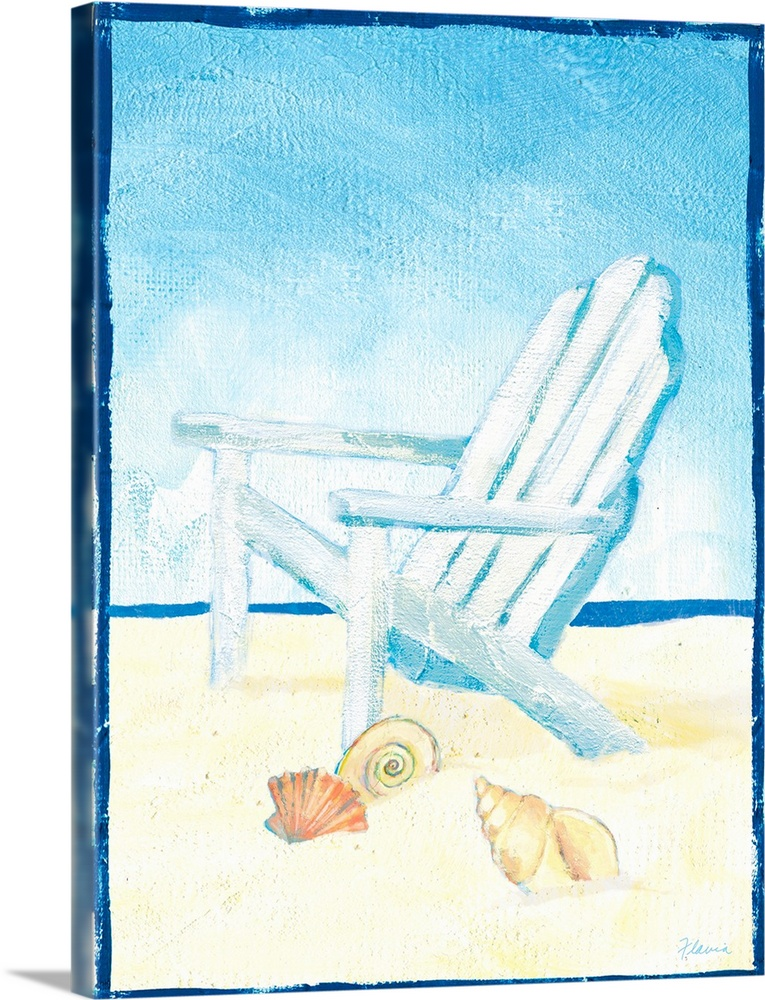 Large Solid-Faced Canvas Print Wall Art Print 30 x 40 entitled Beach Chair Print Solid-Faced Canvas Print entitled Beach Chair Print.  Multiple sizes available.  Primary colors within this image include Pink, White, Muted Blue, Teal.  Made in the USA.  Satisfaction guaranteed.  Archival-quality UV-resistant inks.  Featuring a proprietary design, our canvases produce the tightest corners without any bubbles, ripples, or bumps and will not warp or sag over time.  Archival inks prevent fading and preserve as much fine detail as possible with no over-saturation or color shifting.