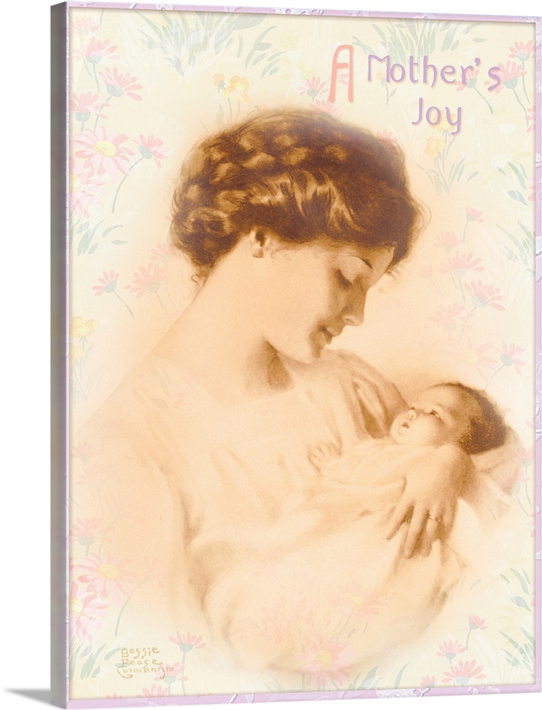 Large Gallery-Wrapped Canvas Wall Art Print 18 x 24 entitled Bessie Pease Mother and Baby Gallery-Wrapped Canvas entitled Bessie Pease Mother and Baby.  Multiple sizes available.  Primary colors within this image include Black Gray Silver.  Made in USA.  All products come with a 365 day workmanship guarantee.  Archival-quality UV-resistant inks.  Canvas is acid-free and 20 millimeters thick.  Canvases have a UVB protection built in to protect against fading and moisture and are designed to last for over 100 years.