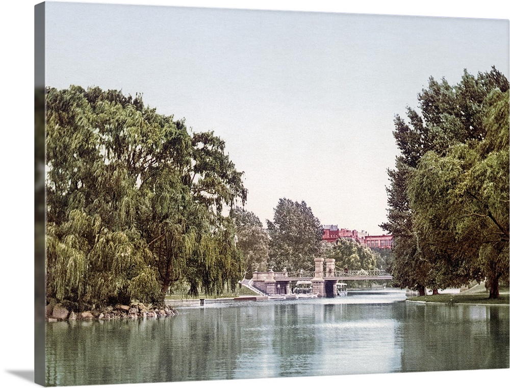 Large Solid-Faced Canvas Print Wall Art Print 40 x 30 entitled Lake in the Public Garden Boston Massachusetts Vintage Phot... Solid-Faced Canvas Print entitled Lake in the Public Garden Boston Massachusetts Vintage Photograph.  Multiple sizes available.  Primary colors within this image include Black, Gray, White.  Made in the USA.  All products come with a 365 day workmanship guarantee.  Archival-quality UV-resistant inks.  Featuring a proprietary design, our canvases produce the tightest corners without any bubbles, ripples, or bumps and will not warp or sag over time.  Canvas depth is 1.25 and includes a finished backing with pre-installed hanging hardware.