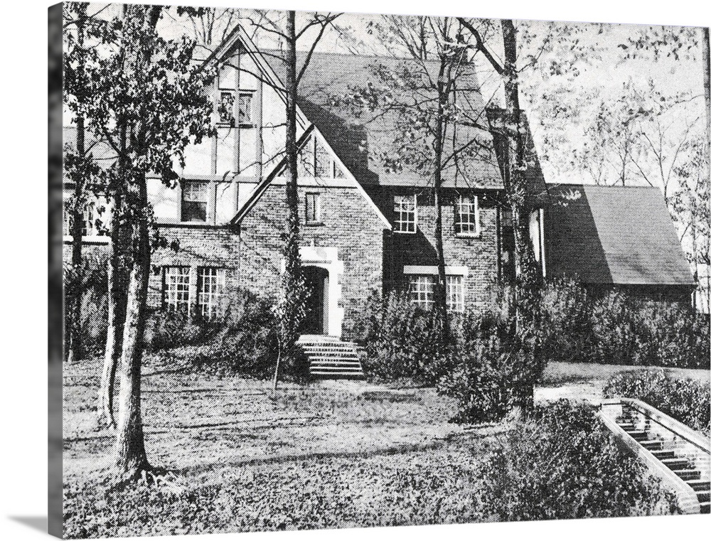 Large Gallery-Wrapped Canvas Wall Art Print 24 x 18 entitled Lakewood Guest House Bessemer Alabama on U.S.11 Vintage Photo... Gallery-Wrapped Canvas entitled Lakewood Guest House Bessemer Alabama on U.S.11 Vintage Photograph.  Multiple sizes available.  Primary colors within this image include Black, Light Gray.  Made in the USA.  Satisfaction guaranteed.  Inks used are latex-based and designed to last.  Canvas is acid-free and 20 millimeters thick.  Museum-quality, artist-grade canvas mounted on sturdy wooden stretcher bars 1.5 thick.  Comes ready to hang.