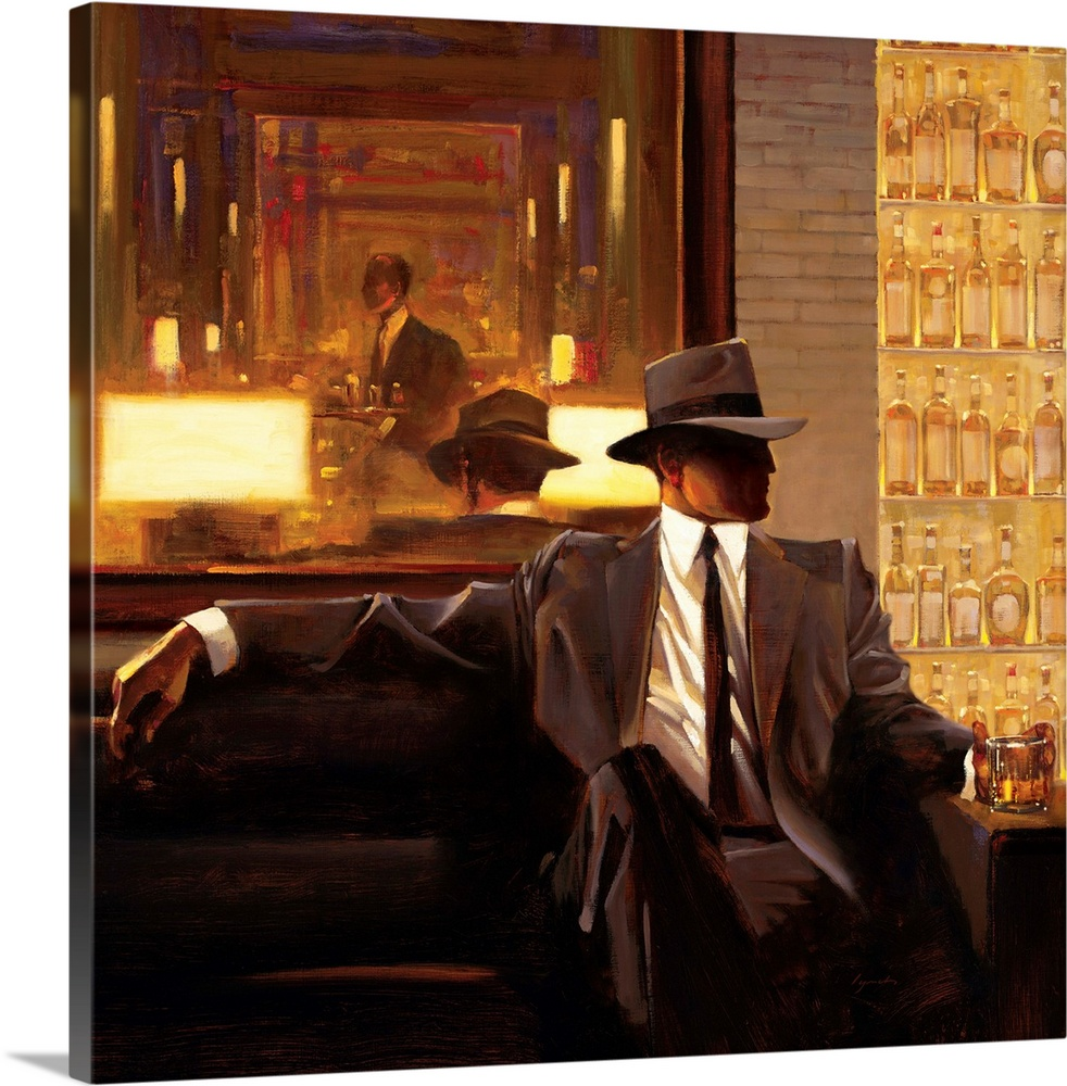 Large Solid-Faced Canvas Print Wall Art Print 20 x 20 entitled Amber Glow I Solid-Faced Canvas Print entitled Amber Glow I.  Contemporary painting of man wearing a suit and hat sitting on sofa in a lounge holding a drink in his hand.  Multiple sizes available.  Primary colors within this image include Orange, Brown, Peach, Black.  Made in USA.  Satisfaction guaranteed.  Inks used are latex-based and designed to last.  Archival inks prevent fading and preserve as much fine detail as possible with no over-saturation or color shifting.  Canvas is handcrafted and made-to-order in the United States using high quality artist-grade canvas.