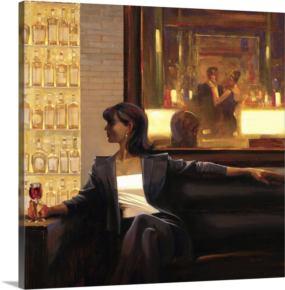 Large Solid-Faced Canvas Print Wall Art Print 20 x 20 entitled Amber Glow II Solid-Faced Canvas Print entitled Amber Glow II.  Contemporary painting of woman sitting on sofa in a lounge holding a drink in her hand.  Multiple sizes available.  Primary colors within this image include Black, Light Gray, White.  Made in USA.  Satisfaction guaranteed.  Inks used are latex-based and designed to last.  Canvas is handcrafted and made-to-order in the United States using high quality artist-grade canvas.  Featuring a proprietary design, our canvases produce the tightest corners without any bubbles, ripples, or bumps and will not warp or sag over time.