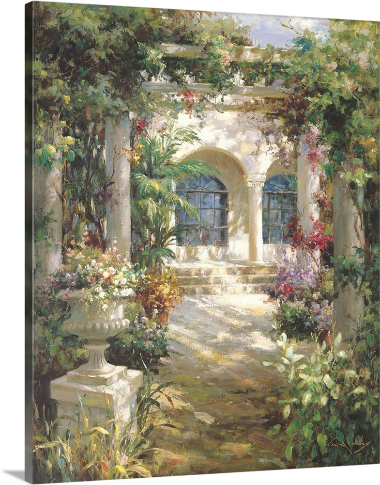 Large Solid-Faced Canvas Print Wall Art Print 24 x 30 entitled Courtyard Shadows Solid-Faced Canvas Print entitled Courtyard Shadows.  Painting of a shady courtyard with arches and columns.  Multiple sizes available.  Primary colors within this image include Dark Yellow, Plum, Gray, White.  Made in USA.  All products come with a 365 day workmanship guarantee.  Inks used are latex-based and designed to last.  Canvas is handcrafted and made-to-order in the United States using high quality artist-grade canvas.  Featuring a proprietary design, our canvases produce the tightest corners without any bubbles, ripples, or bumps and will not warp or sag over time.