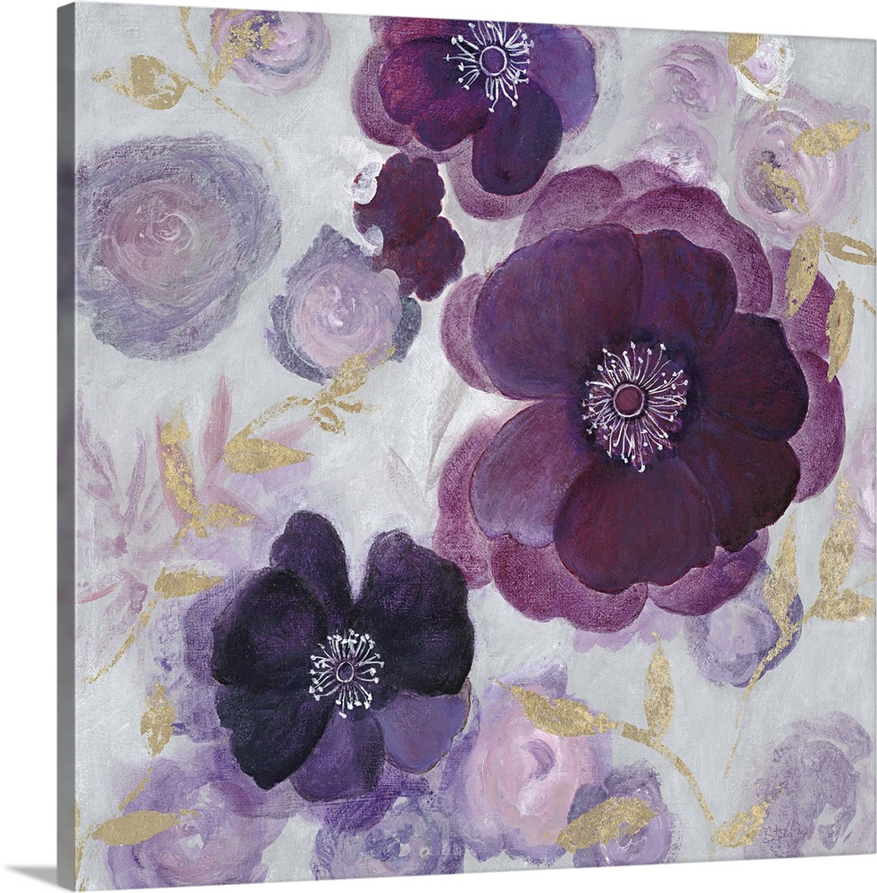 Large Solid-Faced Canvas Print Wall Art Print 20 x 20 entitled Ethereal Garden II Solid-Faced Canvas Print entitled Ethereal Garden II.  Contemporary home decor artwork of purple flowers against a pale floral background.  Multiple sizes available.  Primary colors within this image include Peach, Light Purple, Dark Gray, White.  Made in the USA.  Satisfaction guaranteed.  Archival-quality UV-resistant inks.  Canvas is handcrafted and made-to-order in the United States using high quality artist-grade canvas.  Archival inks prevent fading and preserve as much fine detail as possible with no over-saturation or color shifting.