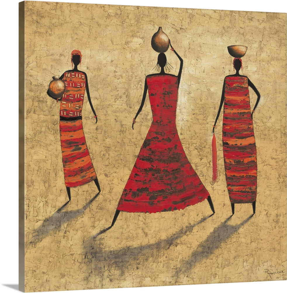 Large Solid-Faced Canvas Print Wall Art Print 20 x 20 entitled Gathering Water Solid-Faced Canvas Print entitled Gathering Water.  Contemporary painting of tribal female figures in colorful clothing.  Multiple sizes available.  Primary colors within this image include Dark Red, Peach, Dark Gray.  Made in USA.  Satisfaction guaranteed.  Inks used are latex-based and designed to last.  Canvas is handcrafted and made-to-order in the United States using high quality artist-grade canvas.  Canvas depth is 1.25 and includes a finished backing with pre-installed hanging hardware.
