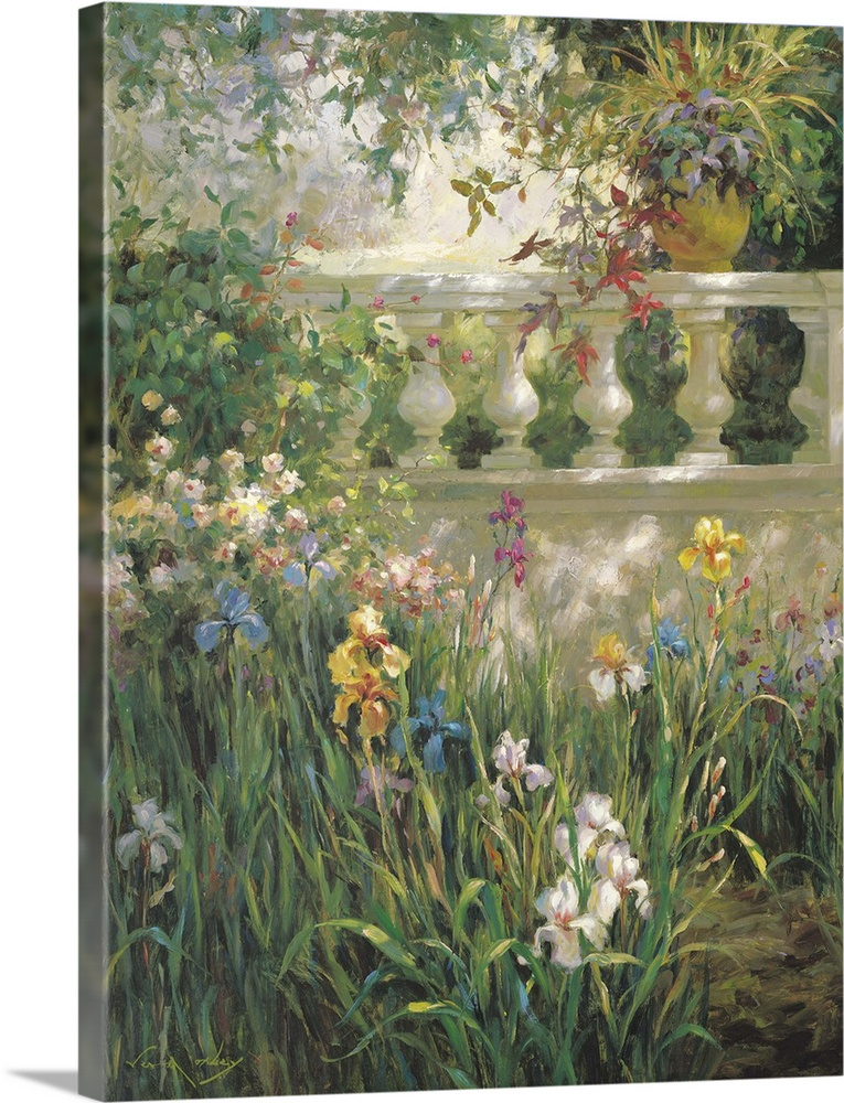 Large Solid-Faced Canvas Print Wall Art Print 30 x 40 entitled Iris Shadows Solid-Faced Canvas Print entitled Iris Shadows.  Peaceful painting of irises in a garden in the shade.  Multiple sizes available.  Primary colors within this image include Brown, Dark Yellow, Silver, Dark Forest Green.  Made in USA.  Satisfaction guaranteed.  Archival-quality UV-resistant inks.  Featuring a proprietary design, our canvases produce the tightest corners without any bubbles, ripples, or bumps and will not warp or sag over time.  Canvas depth is 1.25 and includes a finished backing with pre-installed hanging hardware.