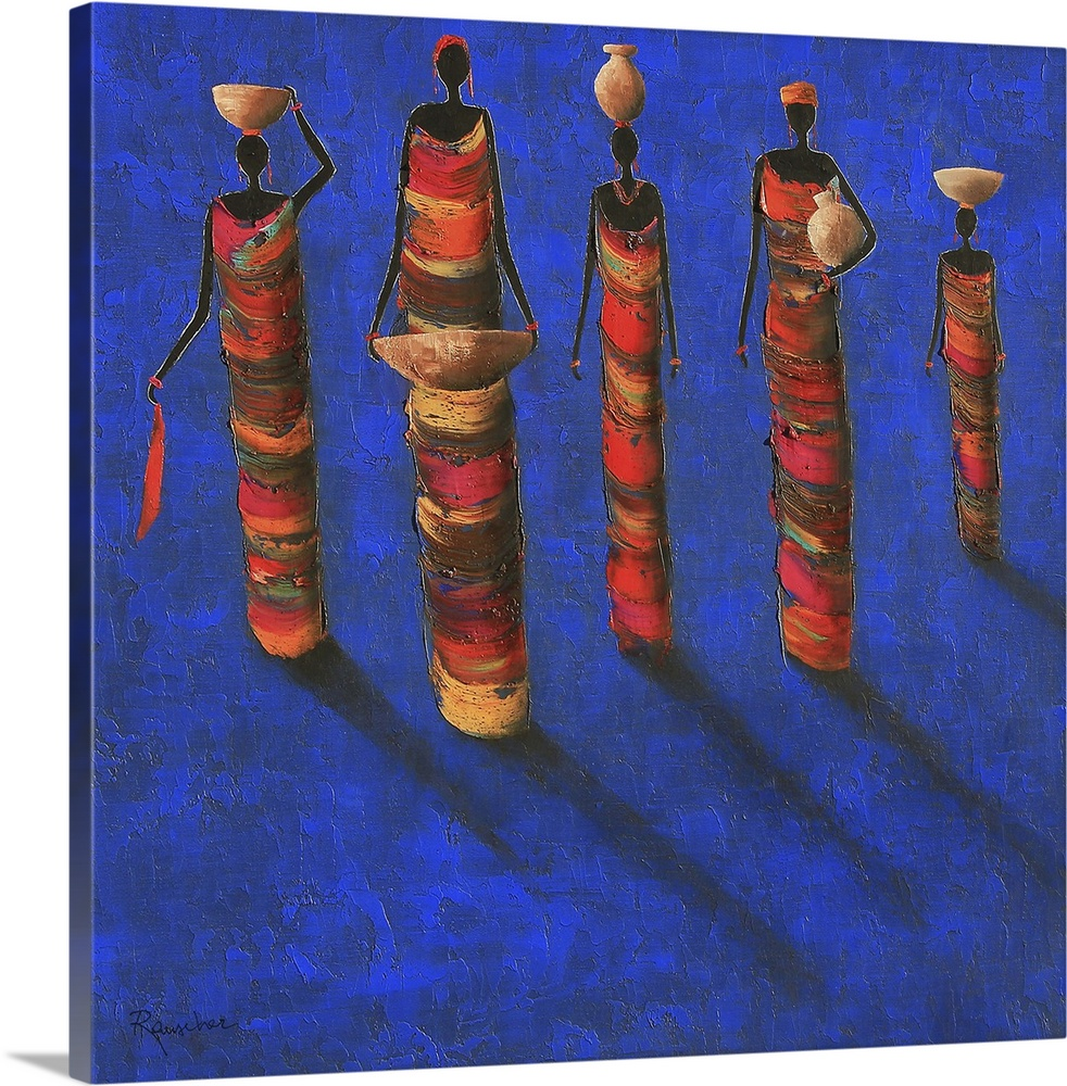 Large Solid-Faced Canvas Print Wall Art Print 20 x 20 entitled Midnight Gathering II Solid-Faced Canvas Print entitled Midnight Gathering II.  Contemporary African art of female figures casting shadows on the ground in front of them.  Multiple sizes available.  Primary colors within this image include Dark Blue, Plum, Black, Gray.  Made in the USA.  Satisfaction guaranteed.  Inks used are latex-based and designed to last.  Canvas depth is 1.25 and includes a finished backing with pre-installed hanging hardware.  Canvas is handcrafted and made-to-order in the United States using high quality artist-grade canvas.