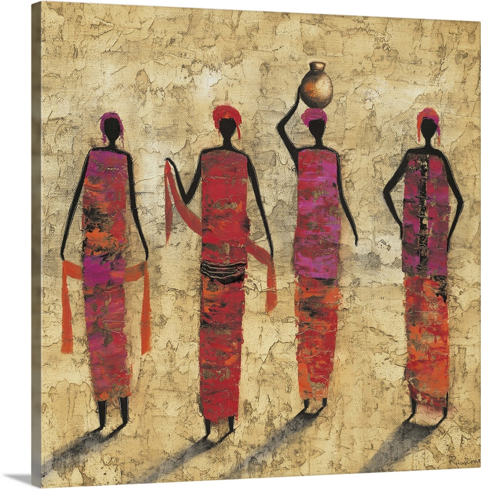 Large Solid-Faced Canvas Print Wall Art Print 20 x 20 entitled Painting Solid-Faced Canvas Print entitled Painting.  Contemporary painting of tribal female figures in colorful clothing.  Multiple sizes available.  Primary colors within this image include Pink, Peach, Dark Gray.  Made in USA.  Satisfaction guaranteed.  Inks used are latex-based and designed to last.  Canvas depth is 1.25 and includes a finished backing with pre-installed hanging hardware.  Archival inks prevent fading and preserve as much fine detail as possible with no over-saturation or color shifting.