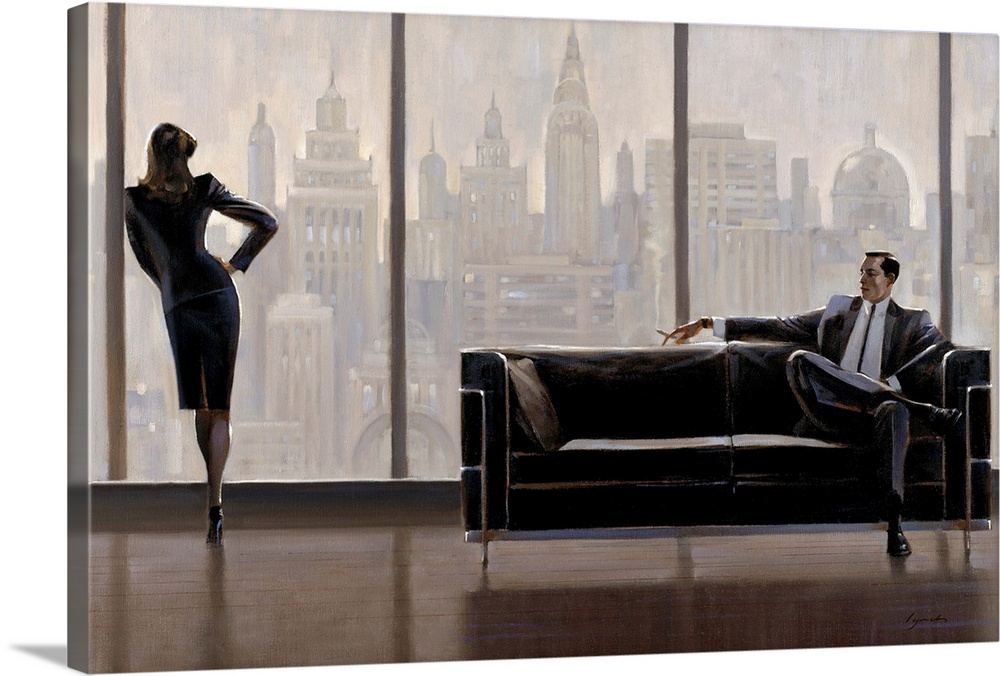 Large Solid-Faced Canvas Print Wall Art Print 30 x 20 entitled Pensive New York Solid-Faced Canvas Print entitled Pensive New York.  Contemporary painting of woman standing at a window looking out a city skyline, while a man in a suit sits on sofa.  Multiple sizes available.  Primary colors within this image include Black, Gray, White.  Made in USA.  Satisfaction guaranteed.  Inks used are latex-based and designed to last.  Archival inks prevent fading and preserve as much fine detail as possible with no over-saturation or color shifting.  Canvas is handcrafted and made-to-order in the United States using high quality artist-grade canvas.