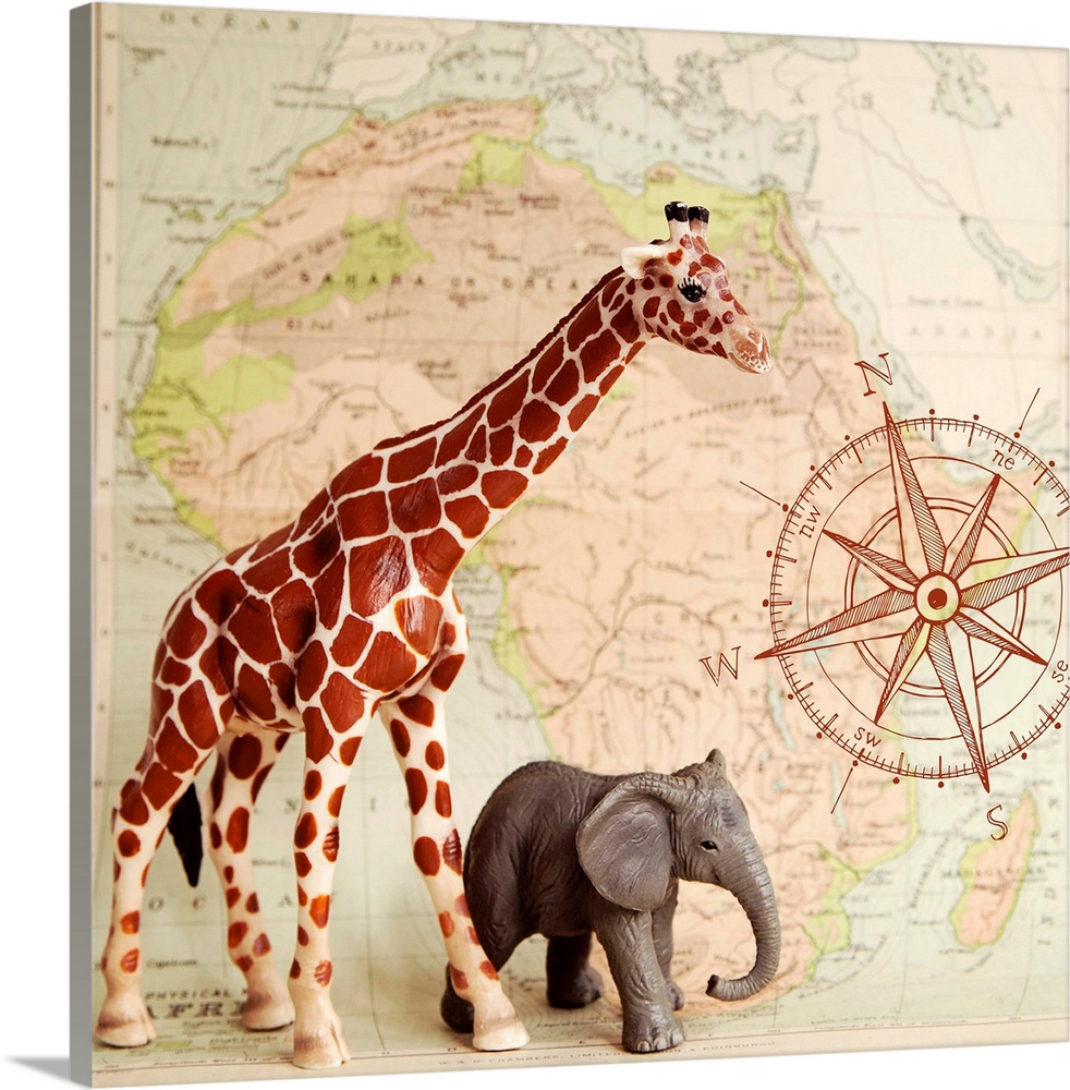 Large Solid-Faced Canvas Print Wall Art Print 20 x 20 entitled Safari Pals Solid-Faced Canvas Print entitled Safari Pals.  A toy elephant and giraffe with a vintage map backdrop.  Multiple sizes available.  Primary colors within this image include Dark Red, Black, Gray, Silver.  Made in USA.  Satisfaction guaranteed.  Archival-quality UV-resistant inks.  Canvas is handcrafted and made-to-order in the United States using high quality artist-grade canvas.  Featuring a proprietary design, our canvases produce the tightest corners without any bubbles, ripples, or bumps and will not warp or sag over time.