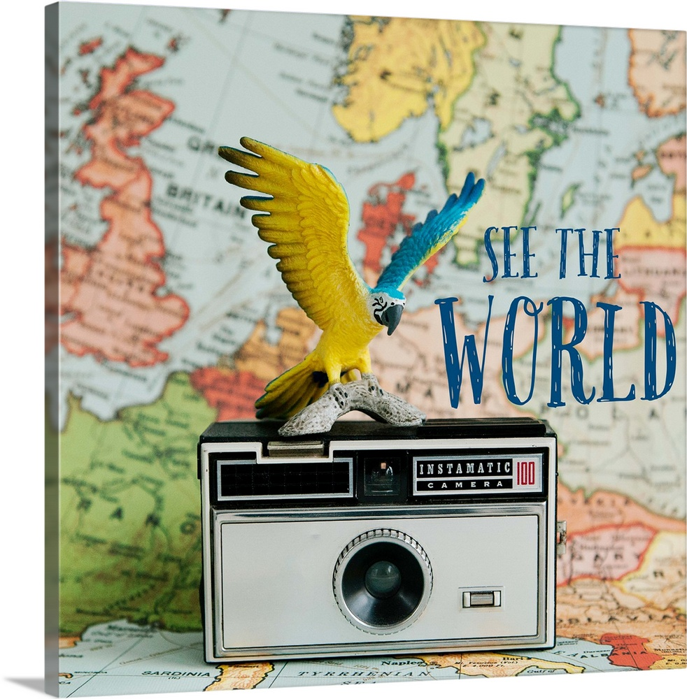 Large Solid-Faced Canvas Print Wall Art Print 20 x 20 entitled See The World Solid-Faced Canvas Print entitled See The World.  A toy bird sitting on a vintage camera with a map backdrop.  Multiple sizes available.  Primary colors within this image include Brown, Dark Yellow, Silver, Muted Blue.  Made in the USA.  All products come with a 365 day workmanship guarantee.  Inks used are latex-based and designed to last.  Featuring a proprietary design, our canvases produce the tightest corners without any bubbles, ripples, or bumps and will not warp or sag over time.  Canvas is handcrafted and made-to-order in the United States using high quality artist-grade canvas.