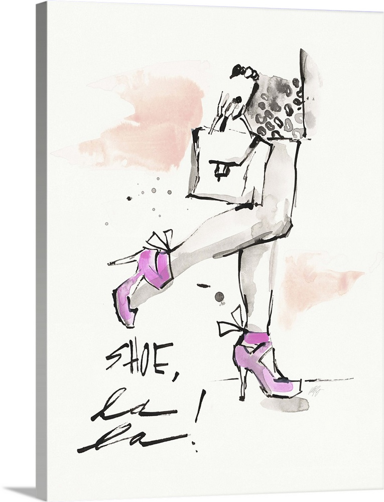 Large Solid-Faced Canvas Print Wall Art Print 30 x 40 entitled Shoe La La Solid-Faced Canvas Print entitled Shoe La La.  Watercolor fashion artwork of a woman in strappy pink heels.  Multiple sizes available.  Primary colors within this image include Lilac, Dark Gray, White.  Made in the USA.  All products come with a 365 day workmanship guarantee.  Archival-quality UV-resistant inks.  Canvas is handcrafted and made-to-order in the United States using high quality artist-grade canvas.  Archival inks prevent fading and preserve as much fine detail as possible with no over-saturation or color shifting.