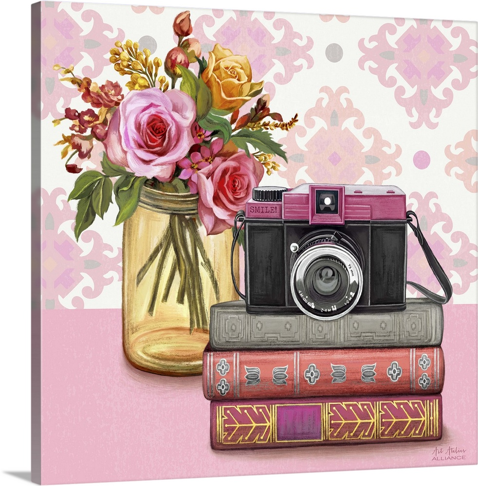 Large Solid-Faced Canvas Print Wall Art Print 20 x 20 entitled Smile Vintage Vignette Solid-Faced Canvas Print entitled Smile Vintage Vignette.  Contemporary vibrant home decor artwork with a pink camera and a bouquet of colorful flowers in a mason jar.  Multiple sizes available.  Primary colors within this image include Brown, Peach, Silver.  Made in the USA.  All products come with a 365 day workmanship guarantee.  Archival-quality UV-resistant inks.  Archival inks prevent fading and preserve as much fine detail as possible with no over-saturation or color shifting.  Canvas depth is 1.25 and includes a finished backing with pre-installed hanging hardware.