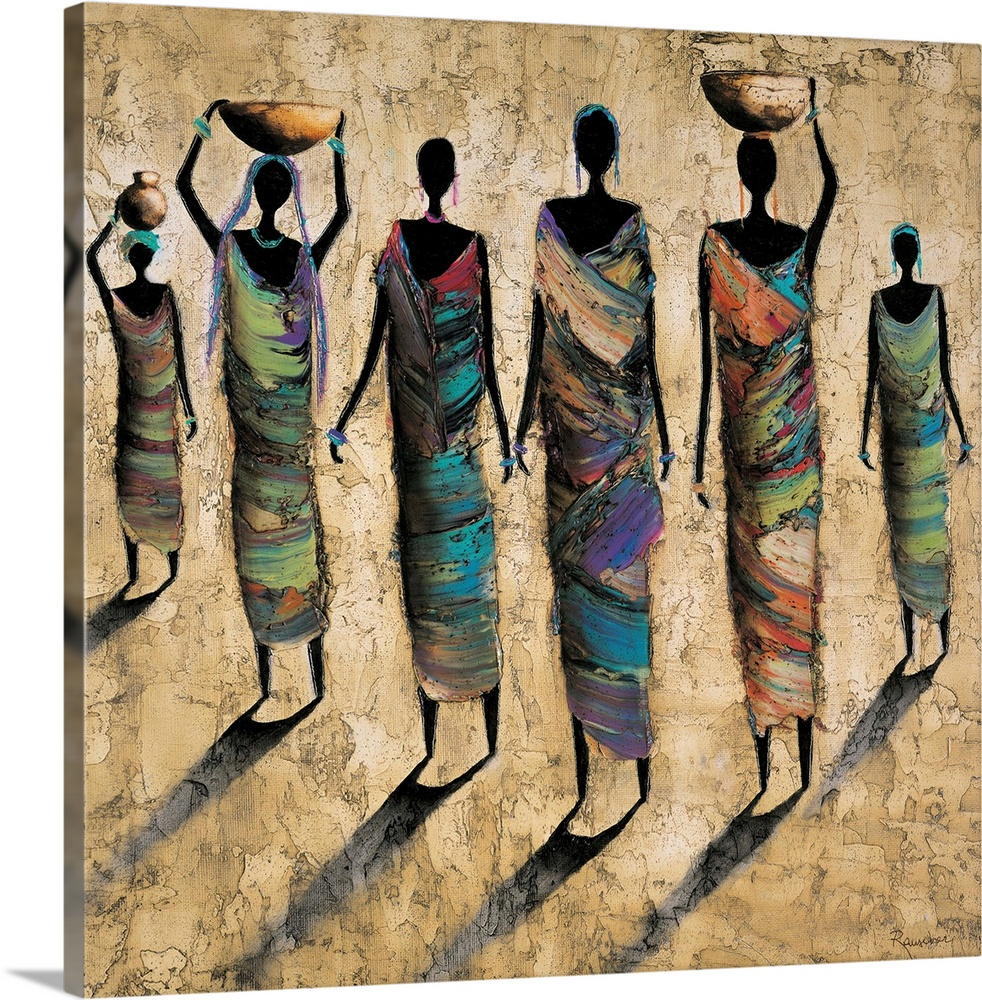 Large Solid-Faced Canvas Print Wall Art Print 20 x 20 entitled Travel By Day Solid-Faced Canvas Print entitled Travel By Day.  Contemporary painting of female tribal figures in colorful clothing casting shadows on the ground.  Multiple sizes available.  Primary colors within this image include Dark Red, Black, Gray, Silver.  Made in the USA.  Satisfaction guaranteed.  Inks used are latex-based and designed to last.  Canvas depth is 1.25 and includes a finished backing with pre-installed hanging hardware.  Canvas is handcrafted and made-to-order in the United States using high quality artist-grade canvas.