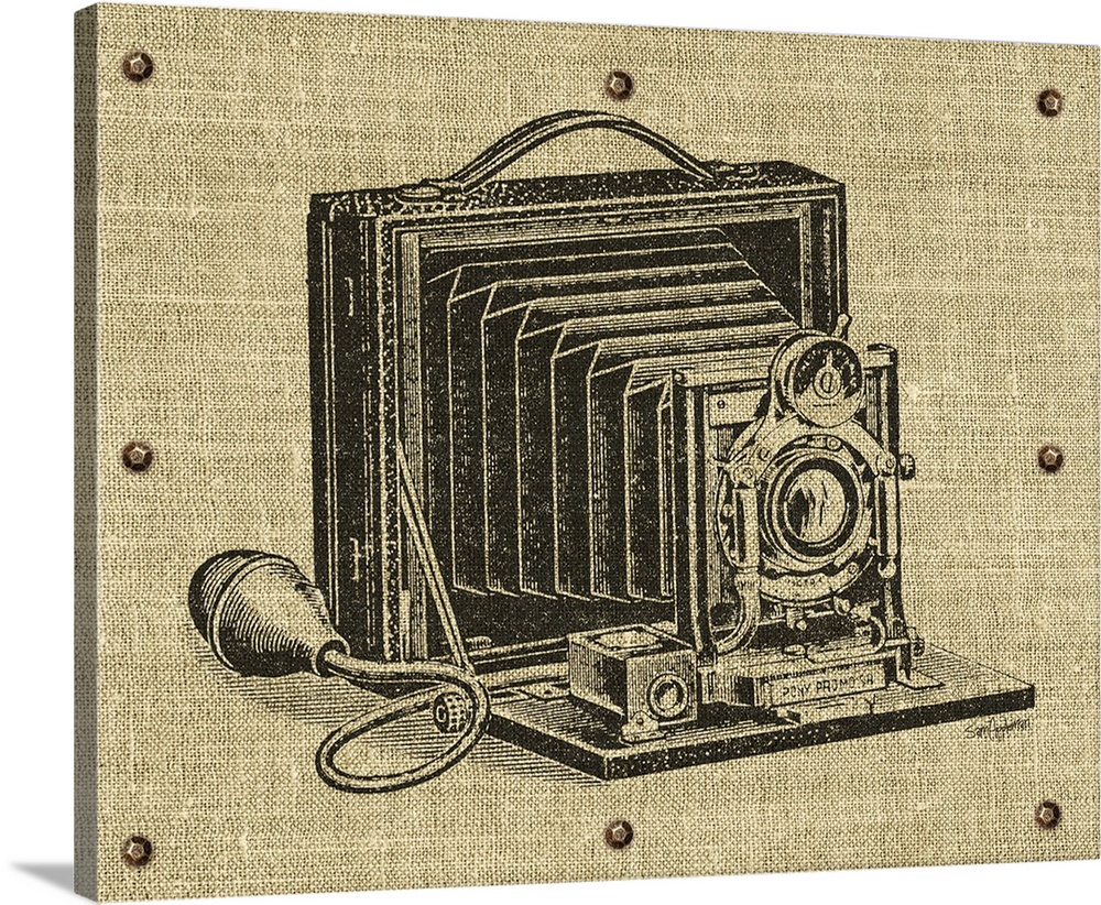 Large Solid-Faced Canvas Print Wall Art Print 30 x 24 entitled Vintage Camera Solid-Faced Canvas Print entitled Vintage Camera.  Contemporary artwork of a camera with a vintage look.  Multiple sizes available.  Primary colors within this image include Black, Gray, White.  Made in USA.  All products come with a 365 day workmanship guarantee.  Archival-quality UV-resistant inks.  Archival inks prevent fading and preserve as much fine detail as possible with no over-saturation or color shifting.  Featuring a proprietary design, our canvases produce the tightest corners without any bubbles, ripples, or bumps and will not warp or sag over time.