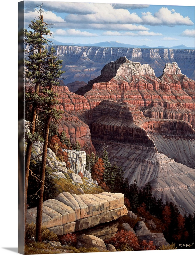 Large Solid-Faced Canvas Print Wall Art Print 30 x 40 entitled A Time For Peace Solid-Faced Canvas Print entitled A Time For Peace.  Contemporary landscape painting of the Grand Canyon.  Multiple sizes available.  Primary colors within this image include Brown, Black, Silver, Gray Blue.  Made in the USA.  Satisfaction guaranteed.  Archival-quality UV-resistant inks.  Canvas is handcrafted and made-to-order in the United States using high quality artist-grade canvas.  Archival inks prevent fading and preserve as much fine detail as possible with no over-saturation or color shifting.