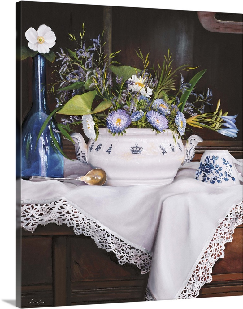 Large Solid-Faced Canvas Print Wall Art Print 24 x 30 entitled Afternoon Tea con Bottiglia Blu Solid-Faced Canvas Print entitled Afternoon Tea con Bottiglia Blu.  Contemporary still life painting of a short white vase holding purple flowers on a lace cloth.  Multiple sizes available.  Primary colors within this image include Dark Yellow, Dark Gray, White, Muted Blue.  Made in the USA.  All products come with a 365 day workmanship guarantee.  Inks used are latex-based and designed to last.  Archival inks prevent fading and preserve as much fine detail as possible with no over-saturation or color shifting.  Featuring a proprietary design, our canvases produce the tightest corners without any bubbles, ripples, or bumps and will not warp or sag over time.