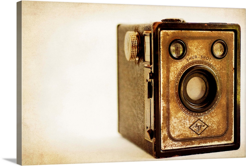 Large Solid-Faced Canvas Print Wall Art Print 30 x 20 entitled Agfa Shur-Shot Solid-Faced Canvas Print entitled Agfa Shur-Shot.  Photograph of a vintage camera with a vintage sepia look to it.  Multiple sizes available.  Primary colors within this image include Brown, Peach, Black.  Made in the USA.  All products come with a 365 day workmanship guarantee.  Archival-quality UV-resistant inks.  Archival inks prevent fading and preserve as much fine detail as possible with no over-saturation or color shifting.  Canvas depth is 1.25 and includes a finished backing with pre-installed hanging hardware.