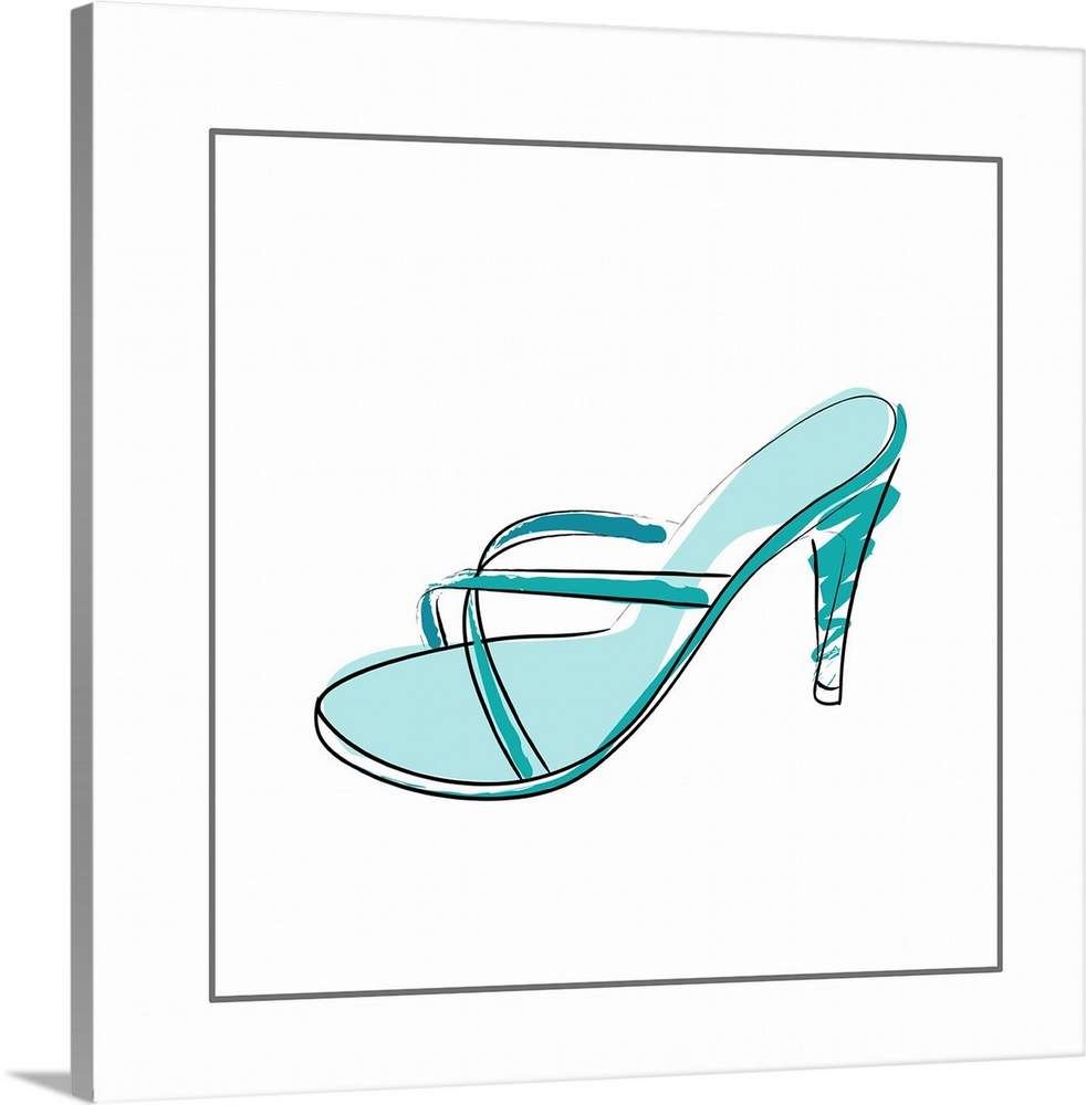 Large Solid-Faced Canvas Print Wall Art Print 20 x 20 entitled Blue High Heel Solid-Faced Canvas Print entitled Blue High Heel.  high heeled shoe.  Multiple sizes available.  Primary colors within this image include Black, White, Teal.  Made in the USA.  Satisfaction guaranteed.  Inks used are latex-based and designed to last.  Archival inks prevent fading and preserve as much fine detail as possible with no over-saturation or color shifting.  Canvas depth is 1.25 and includes a finished backing with pre-installed hanging hardware.
