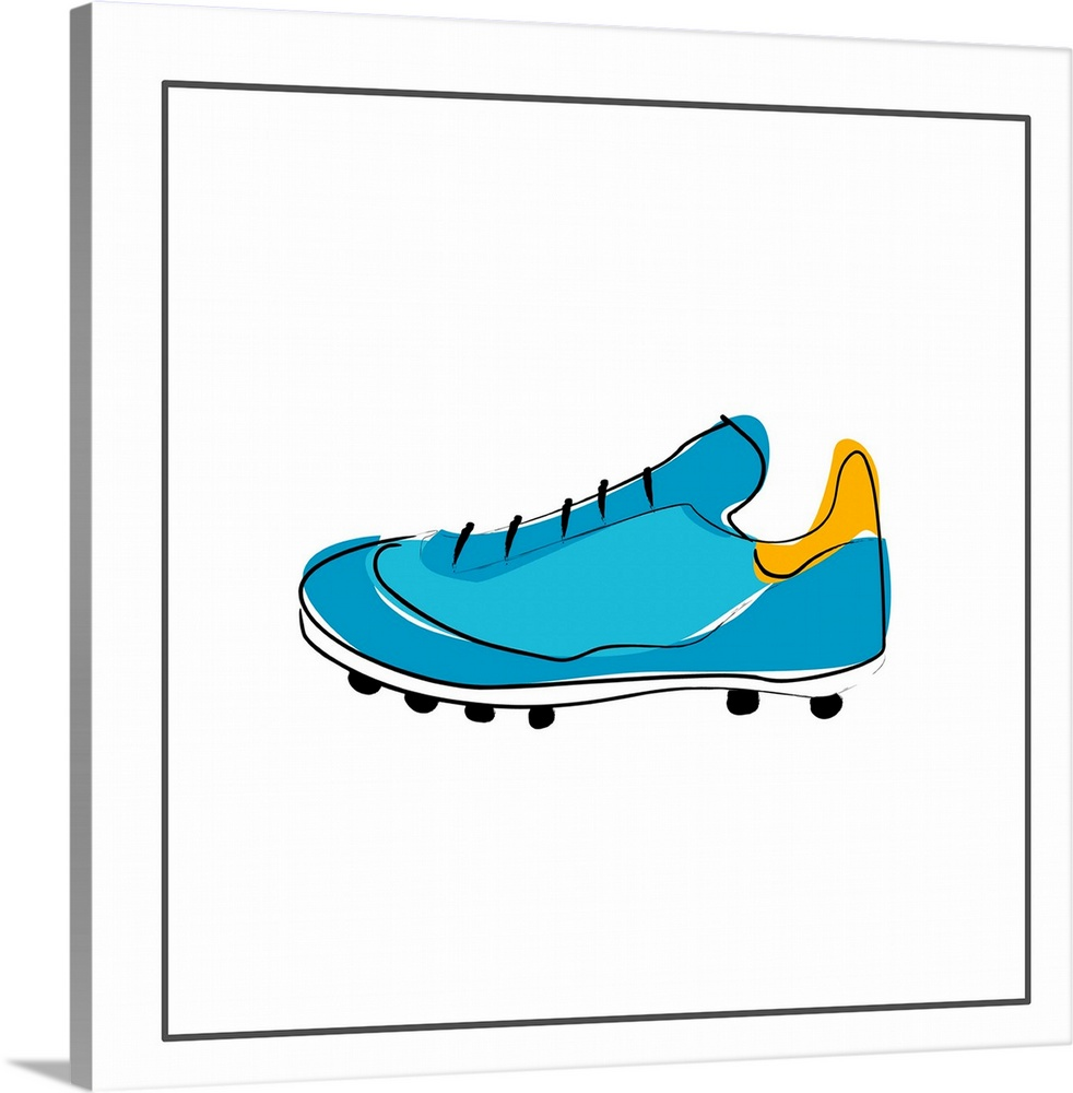 Large Solid-Faced Canvas Print Wall Art Print 20 x 20 entitled Blue Running Shoe Solid-Faced Canvas Print entitled Blue Running Shoe.  blue running shoe.  Multiple sizes available.  Primary colors within this image include Orange, Black, White, Teal.  Made in the USA.  All products come with a 365 day workmanship guarantee.  Archival-quality UV-resistant inks.  Archival inks prevent fading and preserve as much fine detail as possible with no over-saturation or color shifting.  Canvas depth is 1.25 and includes a finished backing with pre-installed hanging hardware.