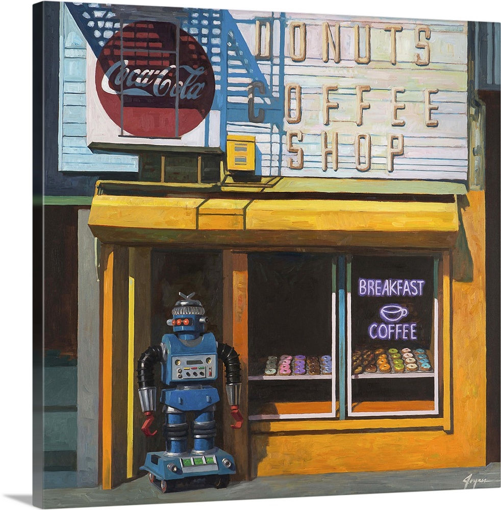 Large Solid-Faced Canvas Print Wall Art Print 20 x 20 entitled Blue Zeroid Solid-Faced Canvas Print entitled Blue Zeroid.  A contemporary painting of a blue retro toy robot standing out front of a donut shop waiting for customers.  Multiple sizes available.  Primary colors within this image include Orange, Dark Gray, Silver, Gray Blue.  Made in USA.  Satisfaction guaranteed.  Archival-quality UV-resistant inks.  Canvas is handcrafted and made-to-order in the United States using high quality artist-grade canvas.  Featuring a proprietary design, our canvases produce the tightest corners without any bubbles, ripples, or bumps and will not warp or sag over time.