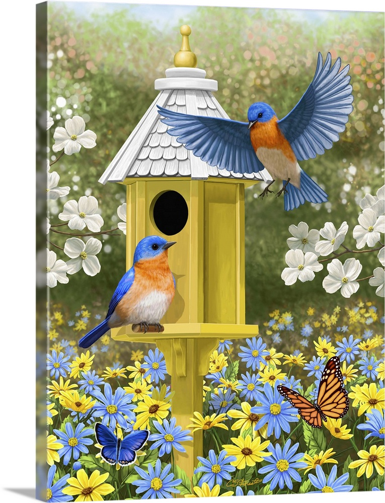 Large Solid-Faced Canvas Print Wall Art Print 30 x 40 entitled Bluebird Garden Home Solid-Faced Canvas Print entitled Bluebird Garden Home.  Bluebirds at a yellow birdhouse.  Multiple sizes available.  Primary colors within this image include Light Yellow, Sky Blue, Dark Forest Green, Pale Blue.  Made in USA.  Satisfaction guaranteed.  Inks used are latex-based and designed to last.  Archival inks prevent fading and preserve as much fine detail as possible with no over-saturation or color shifting.  Canvas depth is 1.25 and includes a finished backing with pre-installed hanging hardware.