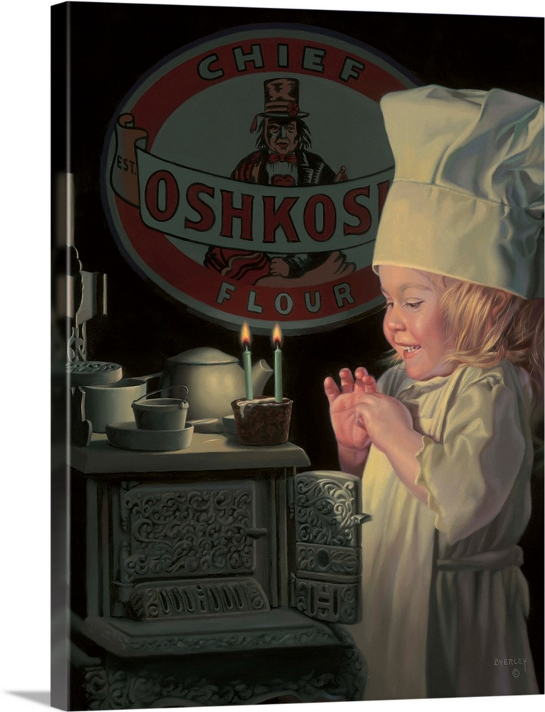 Large Solid-Faced Canvas Print Wall Art Print 30 x 40 entitled Chef Solid-Faced Canvas Print entitled Chef.  Little girl chef at toy stove.  Multiple sizes available.  Primary colors within this image include Black, Light Gray.  Made in USA.  Satisfaction guaranteed.  Archival-quality UV-resistant inks.  Canvas depth is 1.25 and includes a finished backing with pre-installed hanging hardware.  Featuring a proprietary design, our canvases produce the tightest corners without any bubbles, ripples, or bumps and will not warp or sag over time.