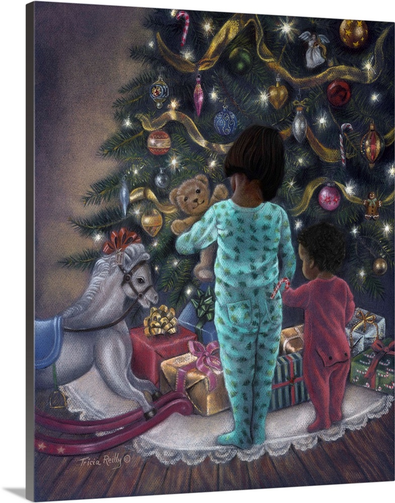 Large Solid-Faced Canvas Print Wall Art Print 24 x 30 entitled Christmas Morning Solid-Faced Canvas Print entitled Christmas Morning.  Two small children looking at toys under a Christmas tree.  Multiple sizes available.  Primary colors within this image include Peach, Gray, Light Gray Blue.  Made in the USA.  Satisfaction guaranteed.  Archival-quality UV-resistant inks.  Featuring a proprietary design, our canvases produce the tightest corners without any bubbles, ripples, or bumps and will not warp or sag over time.  Canvas is handcrafted and made-to-order in the United States using high quality artist-grade canvas.