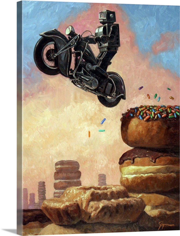 Large Solid-Faced Canvas Print Wall Art Print 30 x 40 entitled Dark Rider Again Solid-Faced Canvas Print entitled Dark Rider Again.  A contemporary painting of a black retro toy robot riding a black motorcycle and jumping it off of a tower of sprinkle covered donuts.  Multiple sizes available.  Primary colors within this image include Brown, Black, White, Light Gray Blue.  Made in USA.  Satisfaction guaranteed.  Inks used are latex-based and designed to last.  Featuring a proprietary design, our canvases produce the tightest corners without any bubbles, ripples, or bumps and will not warp or sag over time.  Canvas is handcrafted and made-to-order in the United States using high quality artist-grade canvas.