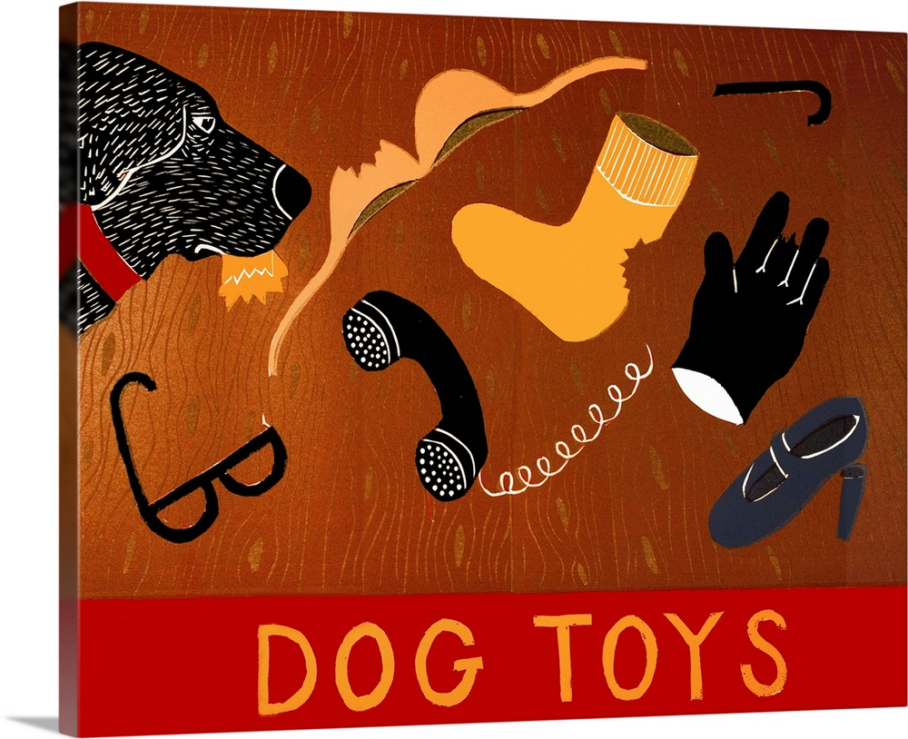 Large Solid-Faced Canvas Print Wall Art Print 30 x 24 entitled Dog Toys Solid-Faced Canvas Print entitled Dog Toys.  Illustration of a black lab ripping up Dog Toys that are actually its humans belongings.  Multiple sizes available.  Primary colors within this image include Red, Orange, Black, White.  Made in USA.  All products come with a 365 day workmanship guarantee.  Inks used are latex-based and designed to last.  Archival inks prevent fading and preserve as much fine detail as possible with no over-saturation or color shifting.  Featuring a proprietary design, our canvases produce the tightest corners without any bubbles, ripples, or bumps and will not warp or sag over time.