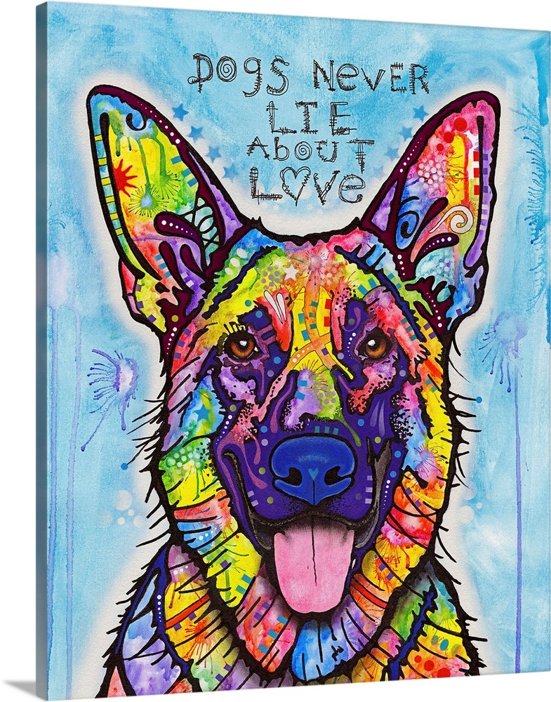 Solid-Faced Canvas Print Wall Art entitled Dogs Never Lie