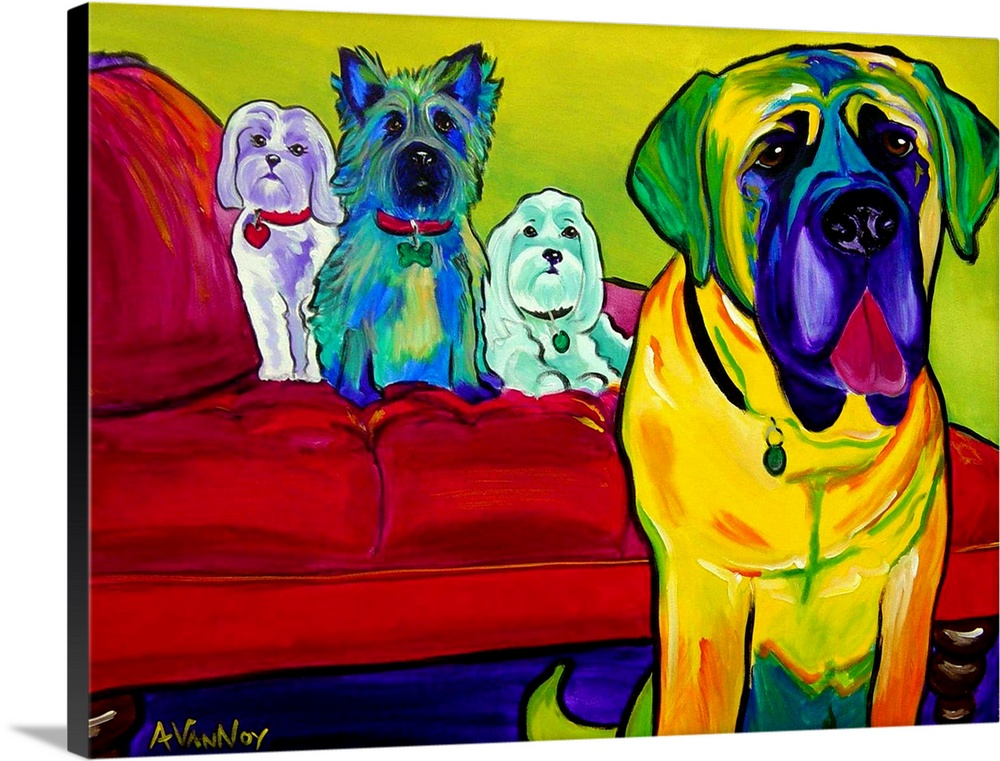 Large Solid-Faced Canvas Print Wall Art Print 40 x 30 entitled Drooler Get The Floor Solid-Faced Canvas Print entitled Drooler Get The Floor.  Contemporary colorful painting of three small dogs sitting on a sofa while a large dog sits on the floor in the foreground.  Multiple sizes available.  Primary colors within this image include Yellow, Dark Red, Dark Blue, Black.  Made in the USA.  All products come with a 365 day workmanship guarantee.  Inks used are latex-based and designed to last.  Canvas depth is 1.25 and includes a finished backing with pre-installed hanging hardware.  Featuring a proprietary design, our canvases produce the tightest corners without any bubbles, ripples, or bumps and will not warp or sag over time.