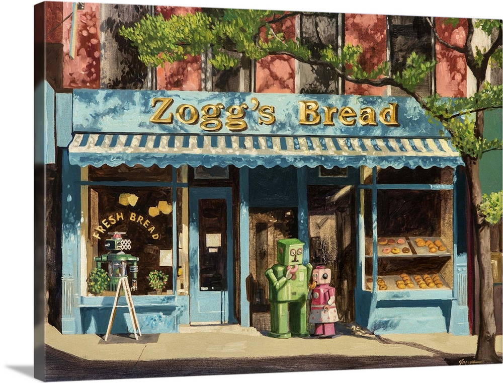 Large Solid-Faced Canvas Print Wall Art Print 40 x 30 entitled Envy Solid-Faced Canvas Print entitled Envy.  A contemporary painting of two retro toy robots standing out front of a bakery eating donuts.  Multiple sizes available.  Primary colors within this image include Dark Yellow, Pink, Dark Gray, Light Gray Blue.  Made in USA.  Satisfaction guaranteed.  Archival-quality UV-resistant inks.  Featuring a proprietary design, our canvases produce the tightest corners without any bubbles, ripples, or bumps and will not warp or sag over time.  Archival inks prevent fading and preserve as much fine detail as possible with no over-saturation or color shifting.