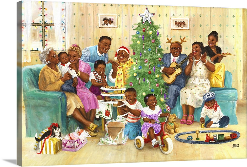 Large Solid-Faced Canvas Print Wall Art Print 30 x 20 entitled Family Christmas Solid-Faced Canvas Print entitled Family Christmas.  An African American family celebrating Christmas morning around a tree with toys and music.  Multiple sizes available.  Primary colors within this image include Dark Red, Brown, Peach, Pale Blue.  Made in the USA.  All products come with a 365 day workmanship guarantee.  Inks used are latex-based and designed to last.  Archival inks prevent fading and preserve as much fine detail as possible with no over-saturation or color shifting.  Canvas is handcrafted and made-to-order in the United States using high quality artist-grade canvas.