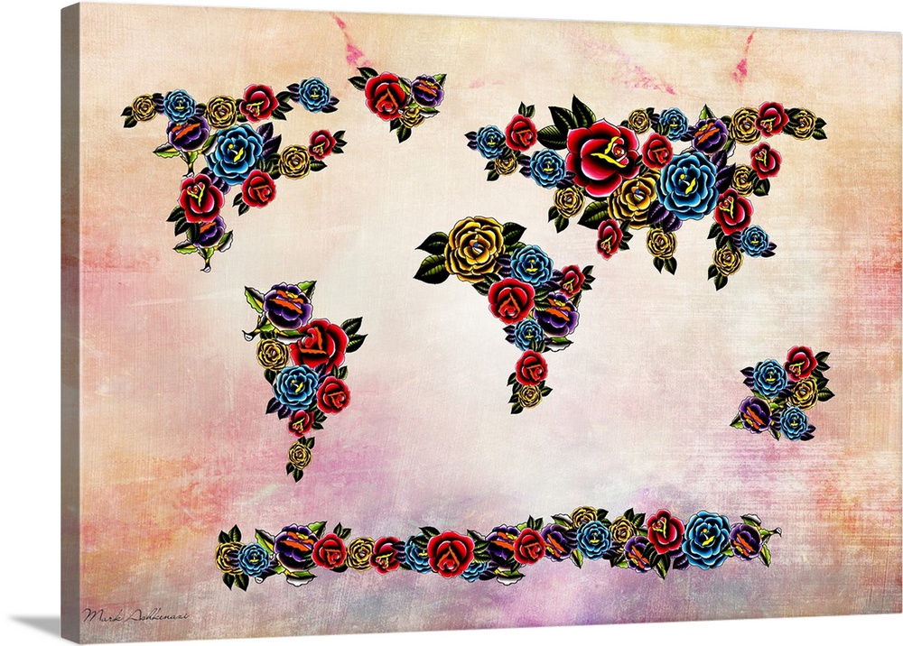 Canvas Kunst Drucken  Flowers Map of the world
