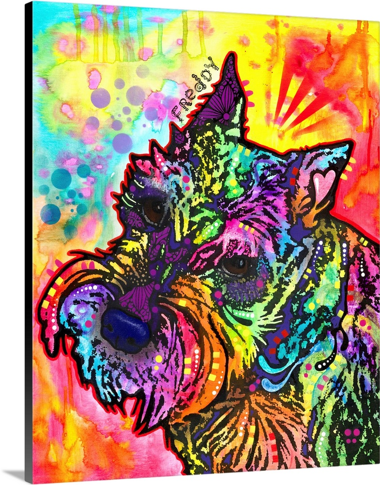 Solid-Faced Canvas Print Wall Art entitled Frossody the Schnauzer