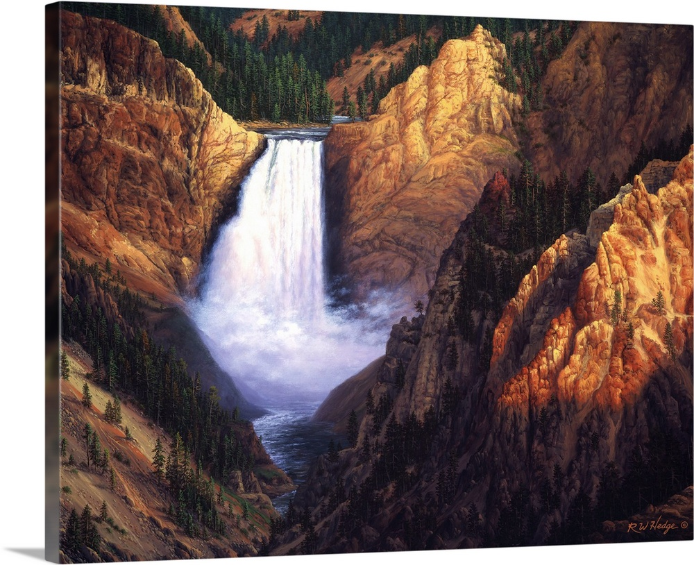 Large Solid-Faced Canvas Print Wall Art Print 45 x 36 entitled Freedom Solid-Faced Canvas Print entitled Freedom.  A waterfall is surrounded by large rocky cliffs in a canyon.  Multiple sizes available.  Primary colors within this image include Brown, Peach, Black, White.  Made in USA.  Satisfaction guaranteed.  Inks used are latex-based and designed to last.  Featuring a proprietary design, our canvases produce the tightest corners without any bubbles, ripples, or bumps and will not warp or sag over time.  Canvas depth is 1.25 and includes a finished backing with pre-installed hanging hardware.