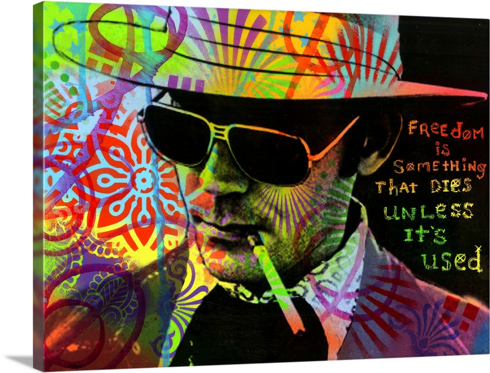 Large Solid-Faced Canvas Print Wall Art Print 48 x 36 entitled Freedom Is Something Solid-Faced Canvas Print entitled Freedom Is Something.  Portrait of Hunter S. Thompson smoking a cigarette with a colorful graffiti overlay and Freedom is Something That Dies Unless Its Used handwritten on the side.  Multiple sizes available.  Primary colors within this image include Red, Brown, Light Yellow, Black.  Made in USA.  All products come with a 365 day workmanship guarantee.  Inks used are latex-based and designed to last.  Featuring a proprietary design, our canvases produce the tightest corners without any bubbles, ripples, or bumps and will not warp or sag over time.  Canvas depth is 1.25 and includes a finished backing with pre-installed hanging hardware.