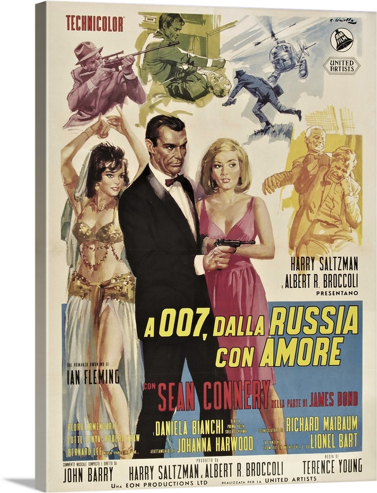 Large Solid-Faced Canvas Print Wall Art Print 18 x 24 entitled From Russia with Love - Vintage Movie Poster Solid-Faced Canvas Print entitled From Russia with Love - Vintage Movie Poster.  Movie Poster Torussia with Love.  Multiple sizes available.  Primary colors within this image include Plum, Dark Gray, Silver, Gray Blue.  Made in USA.  Satisfaction guaranteed.  Inks used are latex-based and designed to last.  Archival inks prevent fading and preserve as much fine detail as possible with no over-saturation or color shifting.  Canvas depth is 1.25 and includes a finished backing with pre-installed hanging hardware.